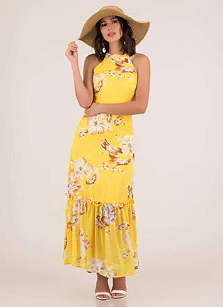 Springtime Tiered Floral Maxi Dress