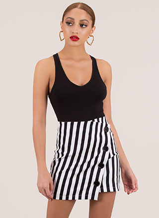 The Bold Me Striped Faux Wrap Miniskirt