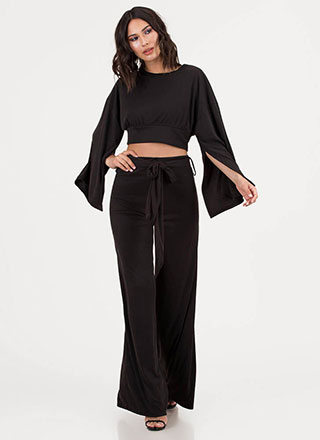 Wing Woman Split Sleeve Palazzo Pant Set