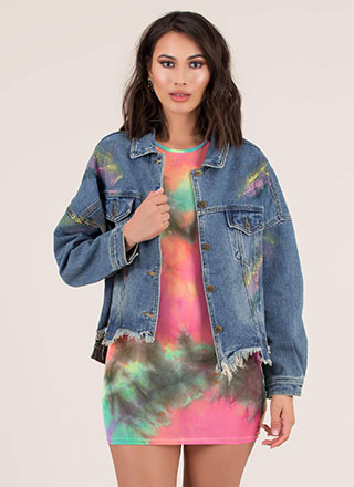 Covered In Paint Distressed Jean Jacket