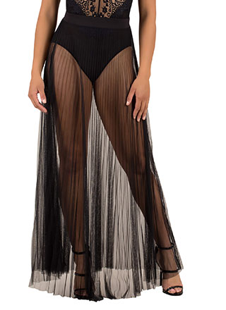 Pleats And Thank You Sheer Maxi Skirt