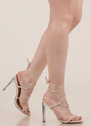 Raise The Bar Lace-Up Lucite Heels