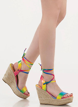 Color Girl Lace-Up Rainbow Wedges