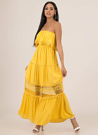 Lovely Strapless Crochet Trim Maxi Dress