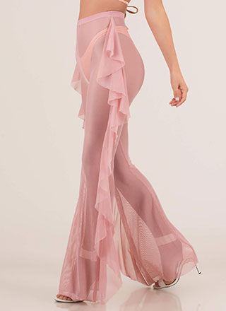 Sheer Coolness Ruffled Mesh Pants