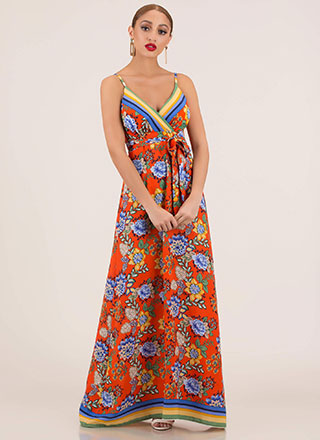 Flowy Flowers Striped Trim Maxi Dress