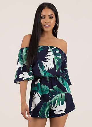 Leaf Town Tropical Off-Shoulder Romper