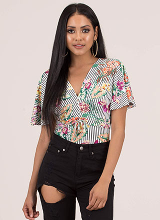 Leaf Me In Paradise Floral Striped Top