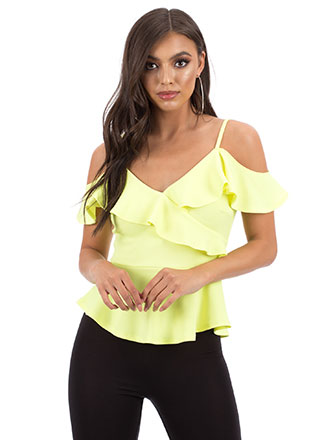 Pretty Peplum Ruffled Cold-Shoulder Top