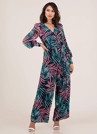 Palms Away Tropical Palazzo Jumpsuit