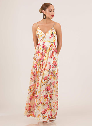 Spring Again Floral Open-Back Maxi Dress