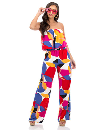 In Full Color Strapless Tiered Jumpsuit