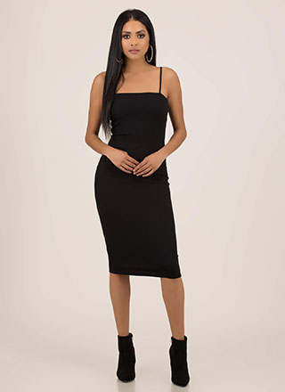 It Figures Ribbed Square-Neck Midi Dress