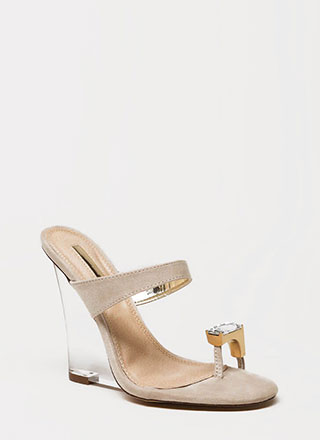 Put A Ring On It Lucite Mule Wedges