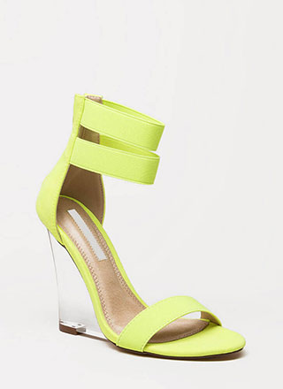 Clear The Room Strappy Lucite Wedges