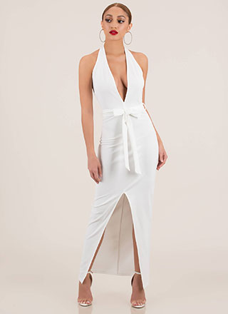 Take The Plunge Tied Halter Maxi Dress