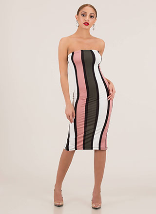 Join The Panel Striped Midi Tube Dress