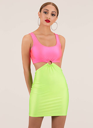 Ring Ring Cut-Out Colorblock Minidress