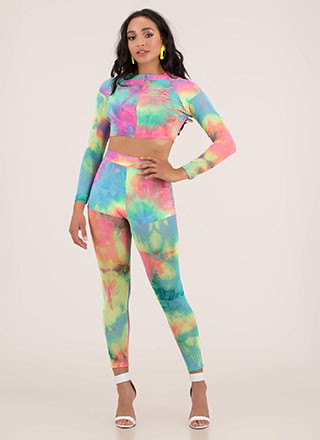 Dream On Mesh Tie-Dye Top And Pant Set