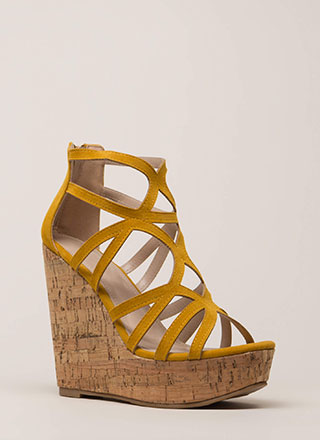 Cork It Cut-Out Caged Platform Wedges