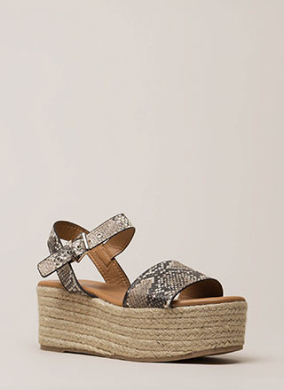 For Goodness Snake Platform Wedges