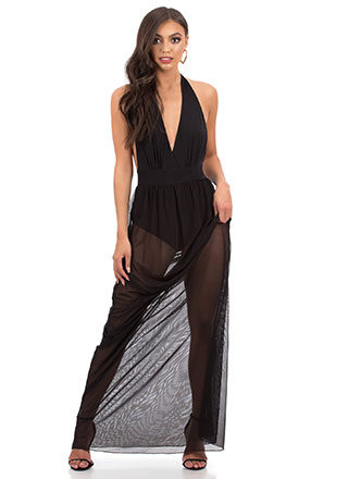 Goddess Sheer Mesh Halter Maxi Dress