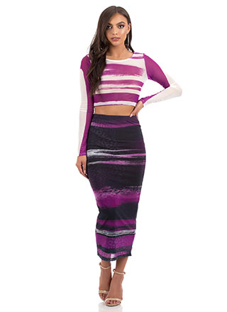Hot Streaks Mesh Top And Skirt Set