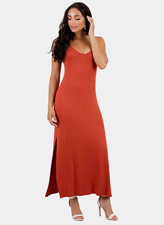 Let It Slip Double Slit Maxi Dress