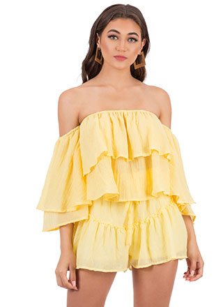 In Tiers Off-Shoulder Top And Shorts Set