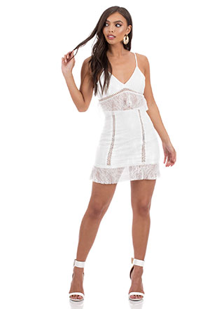 Lace Go Out Tonight Tiered Minidress