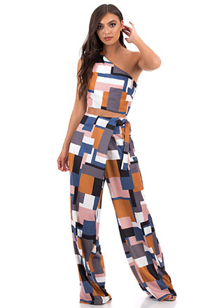 Boxed In Asymmetrical Palazzo Pant Set