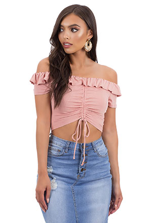 Be Shirr Ruffled Off-Shoulder Crop Top