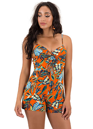 Sunset Tropical Tie-Front Romper