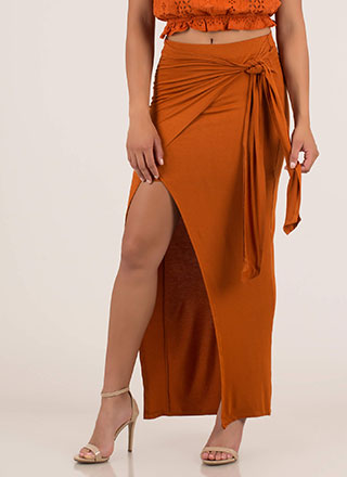 Sarong Night Knotted High-Low Maxi Skirt