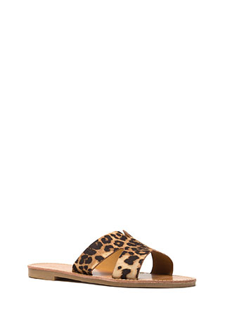 Take It Easy Leopard Print Slide Sandals