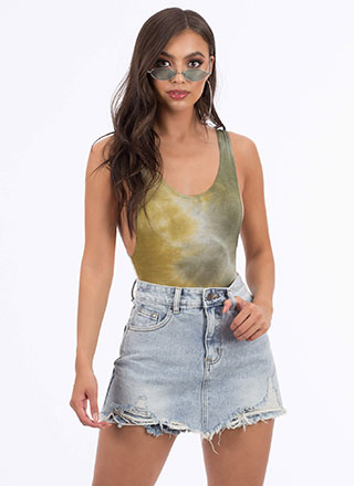 Weekend Plans Destroyed Denim Skort