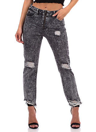 Grunge Distressed Mineral Wash Jeans