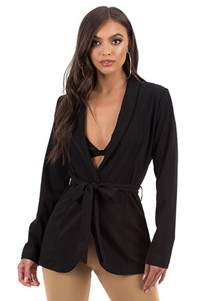 Over And Out Tied Belted Blazer