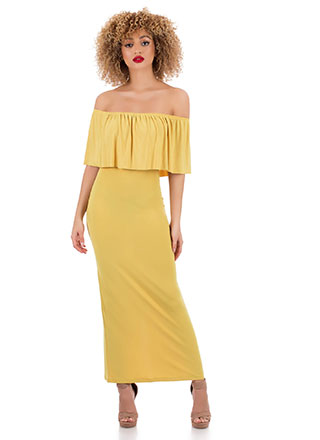 Villa Tiered Off-Shoulder Maxi Dress