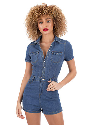 Donesies Denim Button-Up Romper