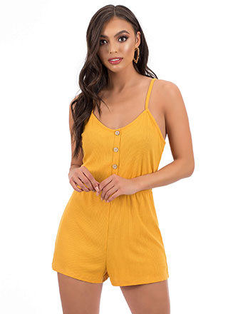 Cute As A Button Tied Rib Knit Romper