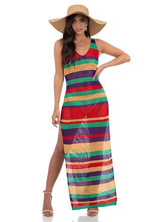 Knit And Slit Striped Maxi Dress