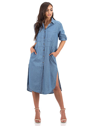 Casual Look Denim Chambray Shirt Dress