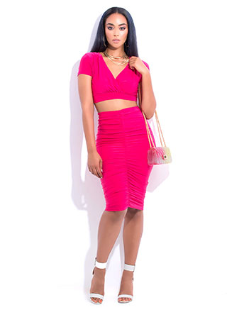 Positively Shirr Ruched Two-Piece Dress