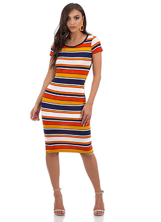 Something Striped Rib Knit Midi Dress