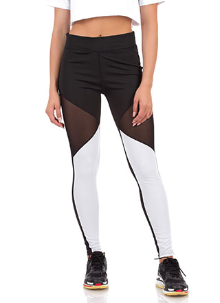 What A Mesh Inset Colorblock Leggings