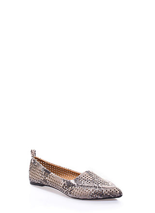 Snake Up Pointy Perforated Loafer Flats