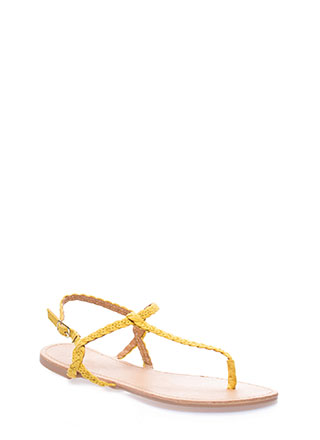 Gimme The Skinny Braided T-Strap Sandals