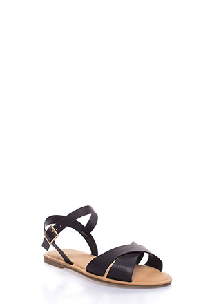 Strappy Shores Faux Leather Sandals