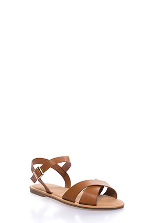 fbfd4ce5b39 Strappy Shores Faux Leather Sandals